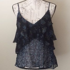 Free People Semi Sheer Tiered Floral Tank Top
